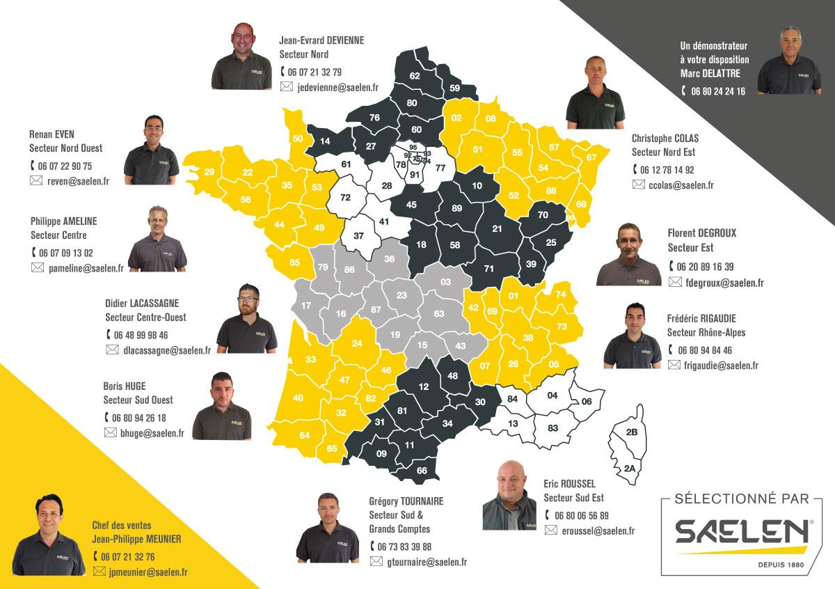 Carte Technico Commerciaux Saelen marques partenaires